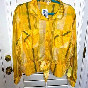NWT! Long sleeve, cute yellow plaid top! 💛
